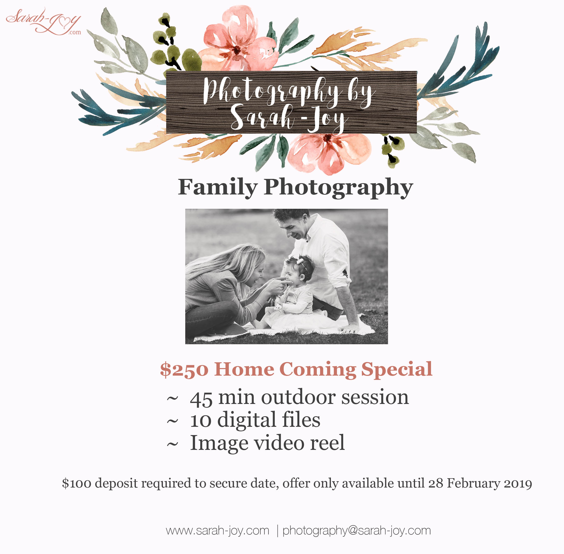 Fitzroy family photography price list