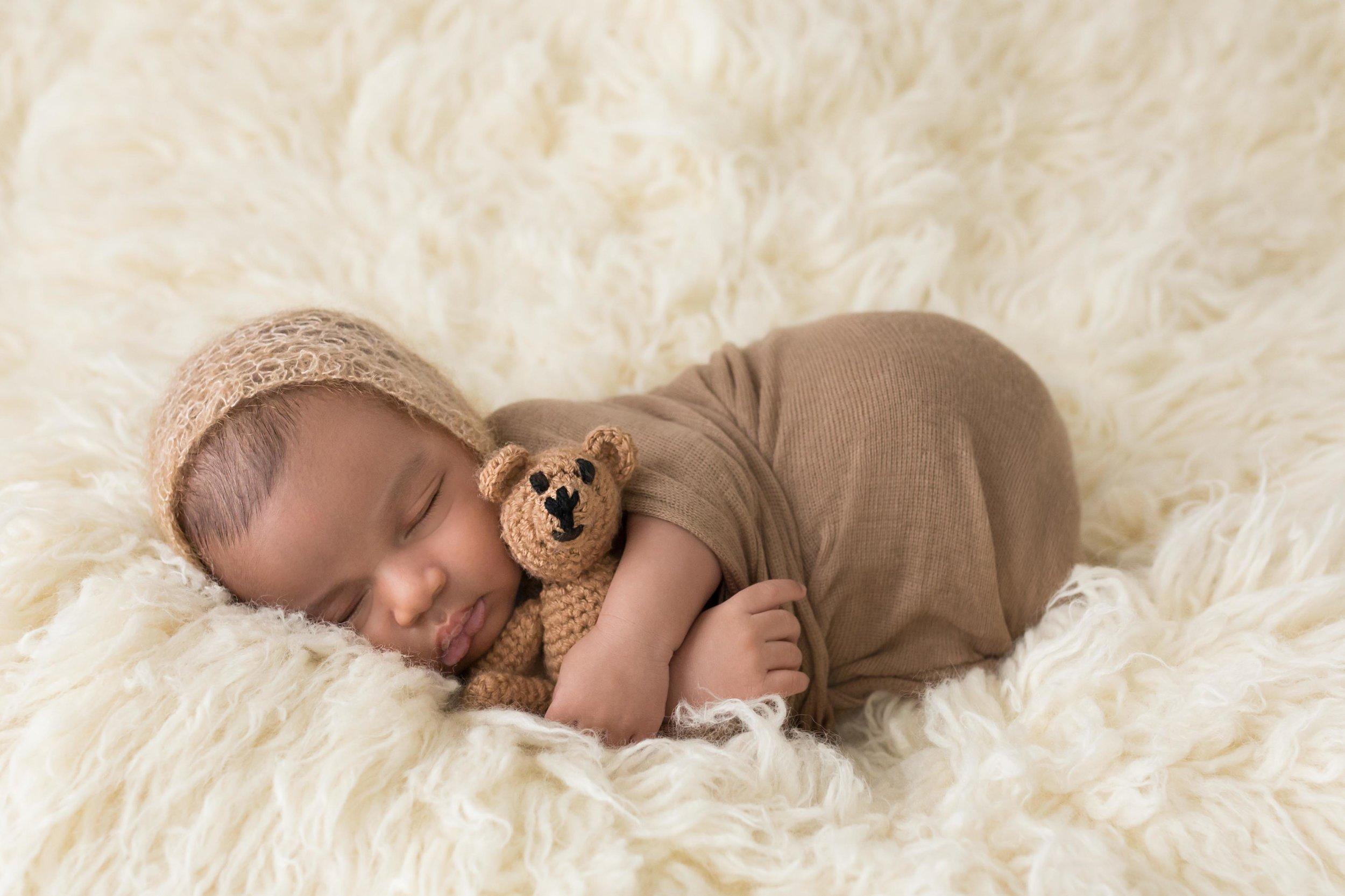 3 week old baby boy with teddie
