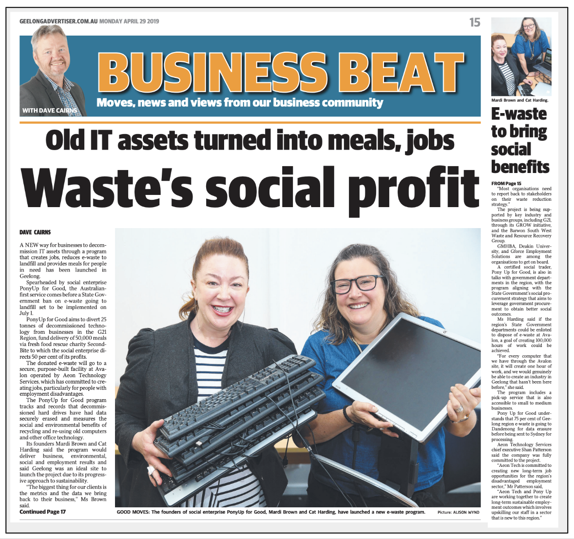 ARTICLE:  DAVID CAIRNS  -  GEELONG ADVERTISER - BUSINESS BEAT - MONDAY 29, APRIL, 2019