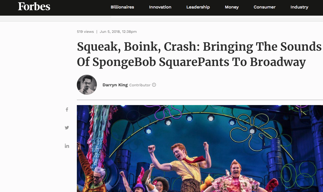 Forbes Magazine interviews Dobson about foley and Spongebob.