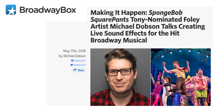 Broadway Box interviews Dobson about his work on Spongebob.