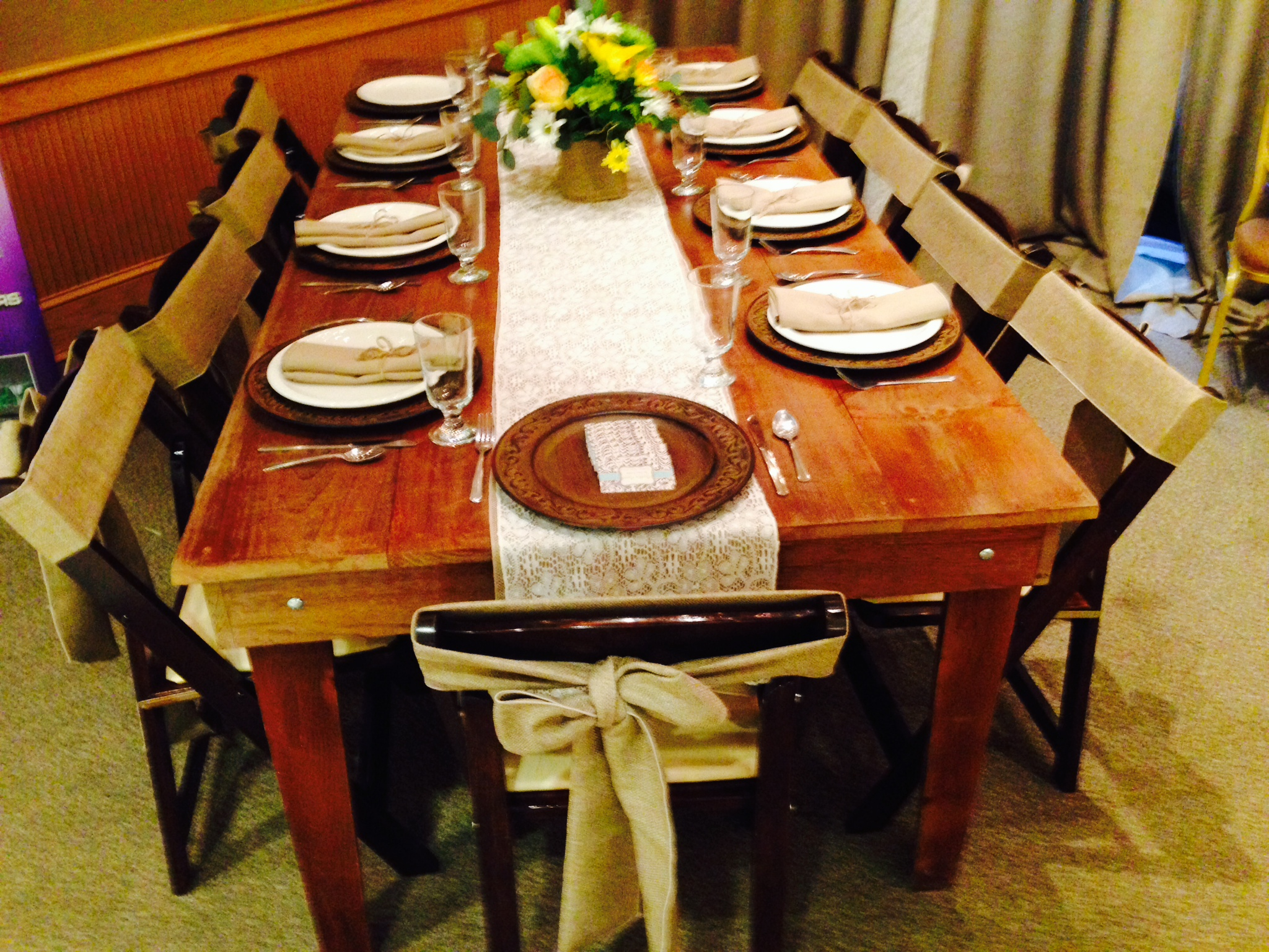8' farm table, fruitwood chairs