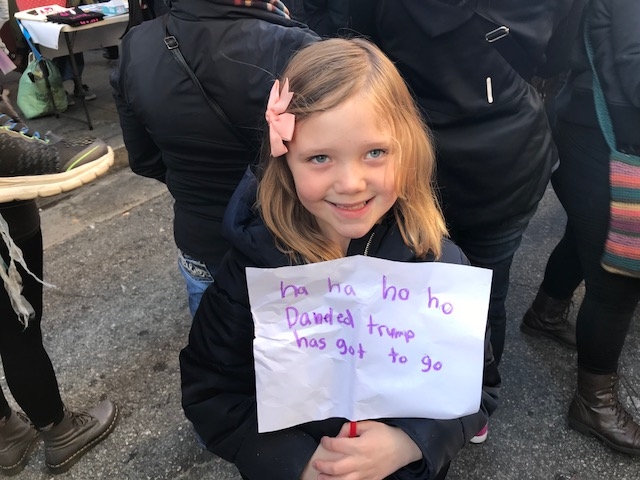 Darla made her own sign for the Women's March.