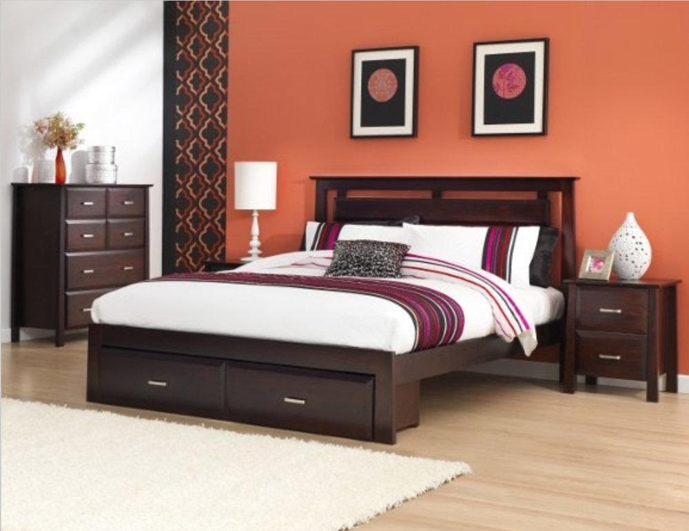 Dark Chocolate Timber 4 Piece Bed Set, Custom Made Bedroom Furniture Sydney
