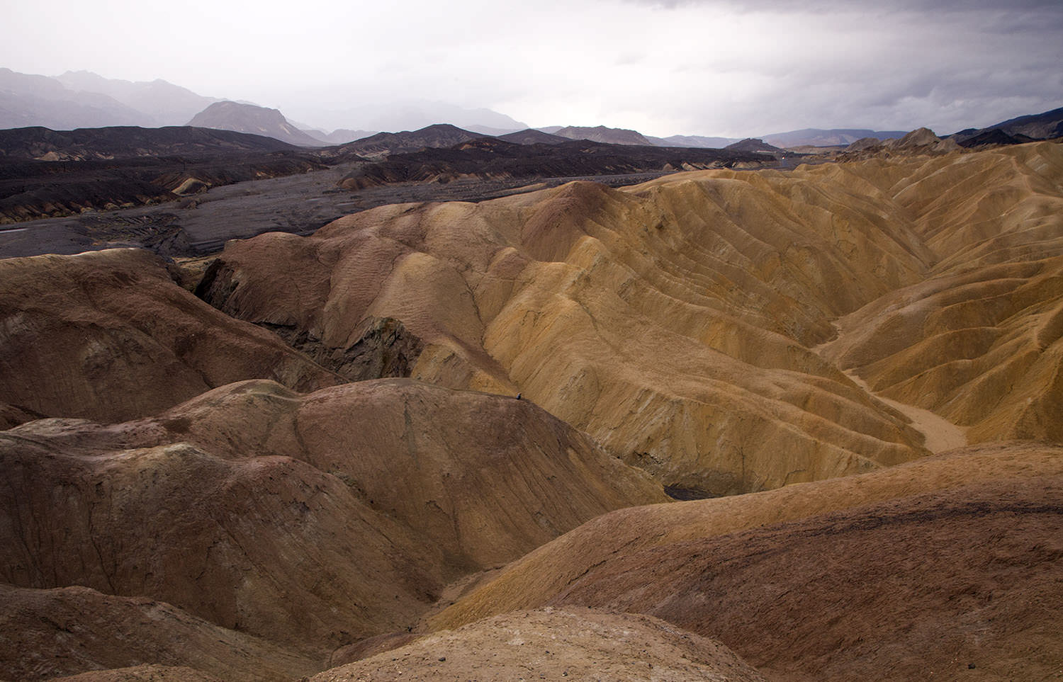Zabrinskie Point, Death Valley, California.  (Aydelette is a small blue dot.)