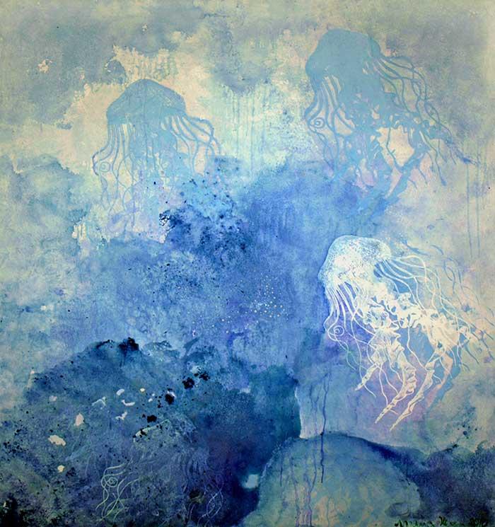 Qualle_ 2010_140x160cm_Mischtechnik auf Leinwand
