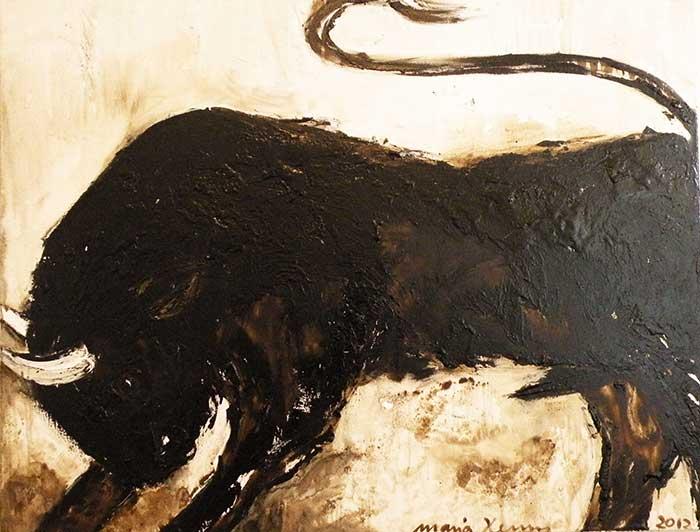 Romero_ 2012_130x100cm_Bitumen,Oel auf Leinwand