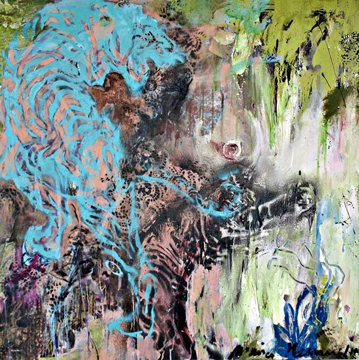 Türkiser Tiger_ 2010_90x90cm_Oel auf Leinwand