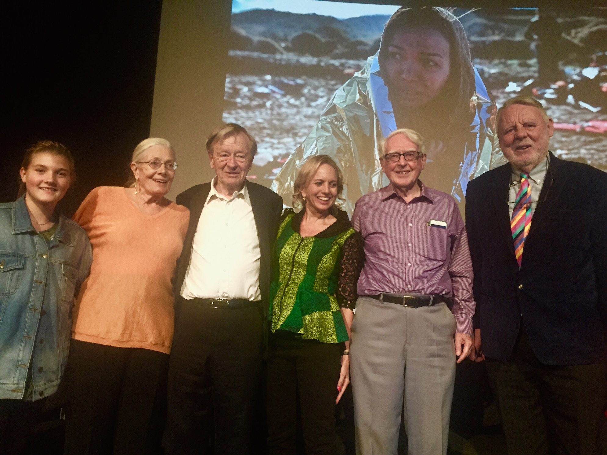 Vanessa Redgrave surrounded by her granddaughter,Lord (Alf) Dubs, Kirsty Brimelow QC and Terry Waite
