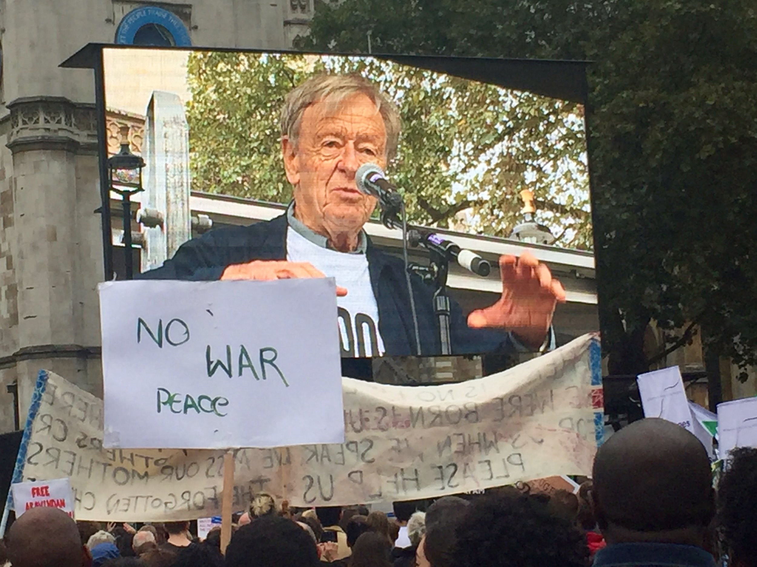 "Lord Dubs urges the crowds in Parliament Square to take action: ""There is only one thing that is shifting this government and that is the force of public opinion and that means you."""