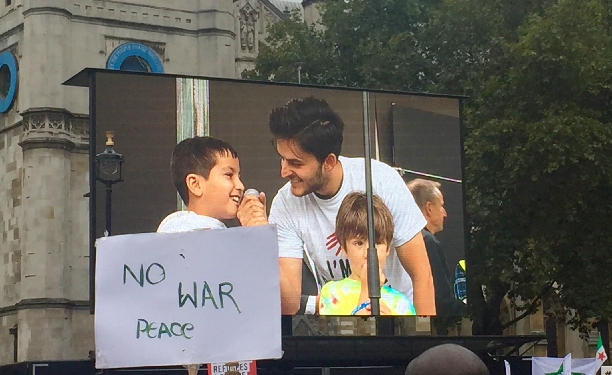 8-year old refugee from Syria says how happy he is to be in the UK and hoped others will be lucky too.