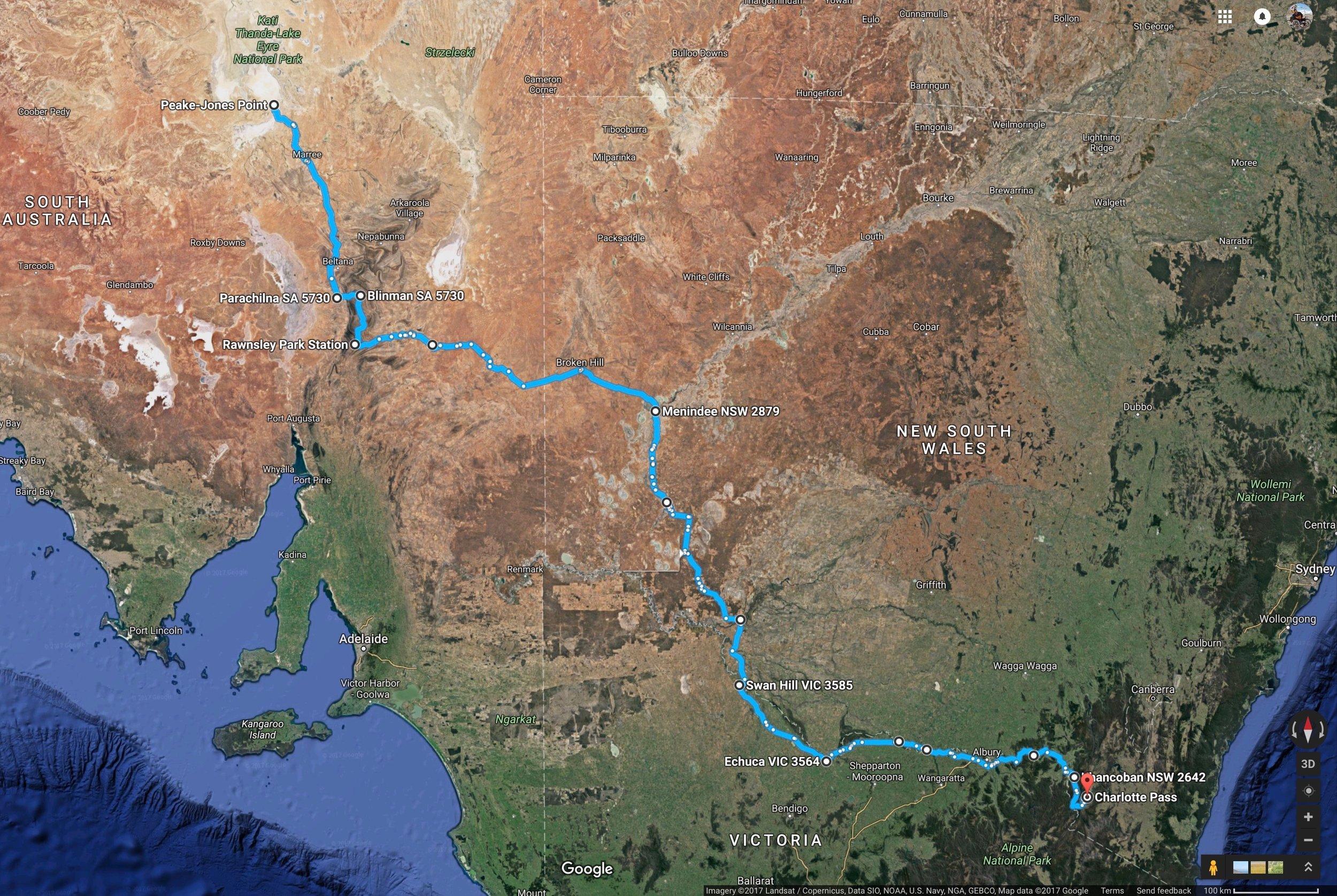 The Route. Top left Kati Thanda - Bottom right Mount Kosciuszko.