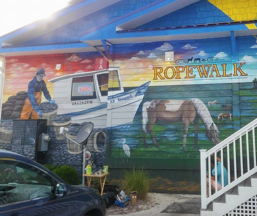 Progress Shot of Ropewalk Chincoteague exterior Mural