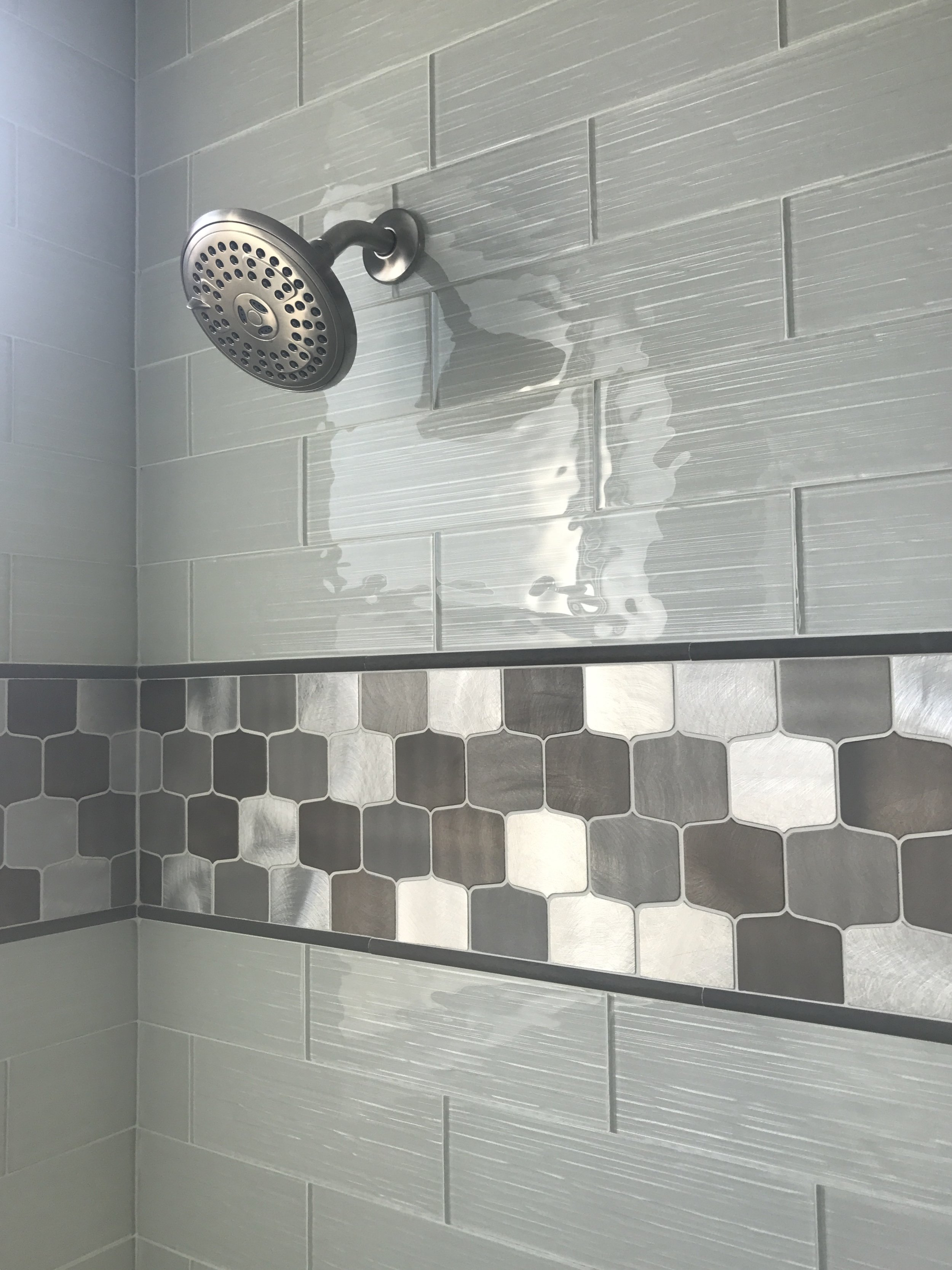 Guest Bathroom Tile, Deco Tile and Shower Head