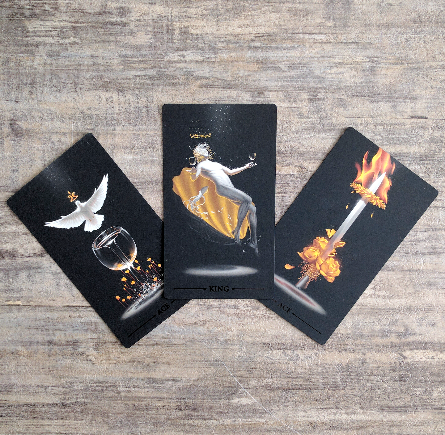 Ace of Cups, King of Cups, Ace of Swords