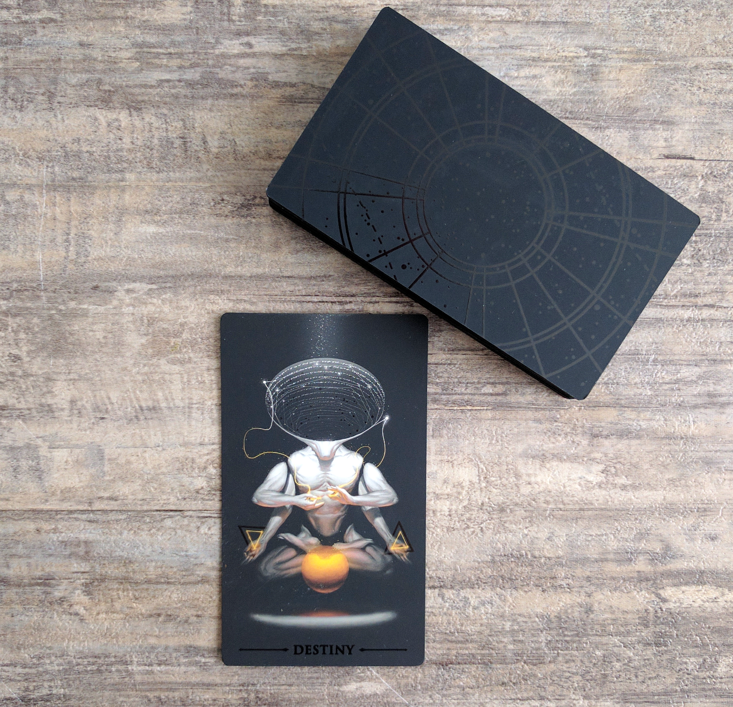 The Destiny card is a good example of tiny details adding extra significant. Also, here are the card backs if you're wondering what those look like.