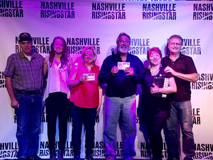 From left to right, David Reuter (music industry judge), Kristen Parisi (music industry judge), Mary Ellen Hayes (audience winner), Uncle Larry Saffer (music industry judges winner), Sue Mohr (emcee), Keith Mohr (NRS creator/director)