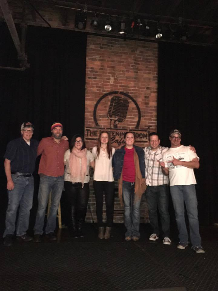 """(From left to right) David Reuter (VP of Big Tent, acoustic guitar), Brian Mooney (bass), Michelle Periera (vocals, songwriter), Kristen Parisi (vocals, songwriter), Breann Young (vocals, songwriter), Darren Darling (percussion), Christopher """"Freight Train"""" Floyd (harmonic)"""