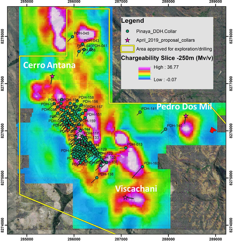 Figure 1: Map showing drill targets on the Pinaya Mineral Resource area.