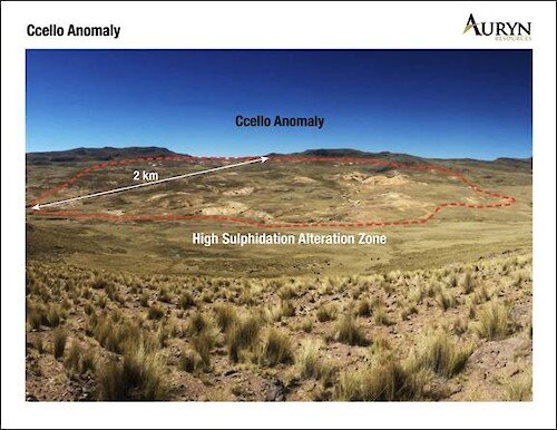 Figure 2: Illustrates the clay alteration zone associated with the high sulphidation system at the Ccello prospect.