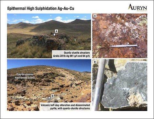 Figure 4: Illustrates the silver mineralization associated wtih quartz- alunite alteration and massive silica structures.