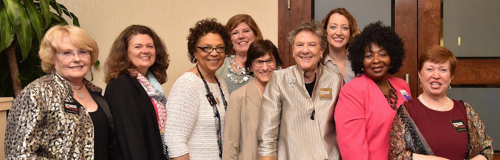 The Consumer Health First Team: (L-R) Mary Lou Fox, Leigh Cobb, Alma Roberts, Linda Rittelmann, Ellen Weber, Leni Preston, Adrienne Ellis, Rev. Debra Hickman, and Dr. Madeline Shea