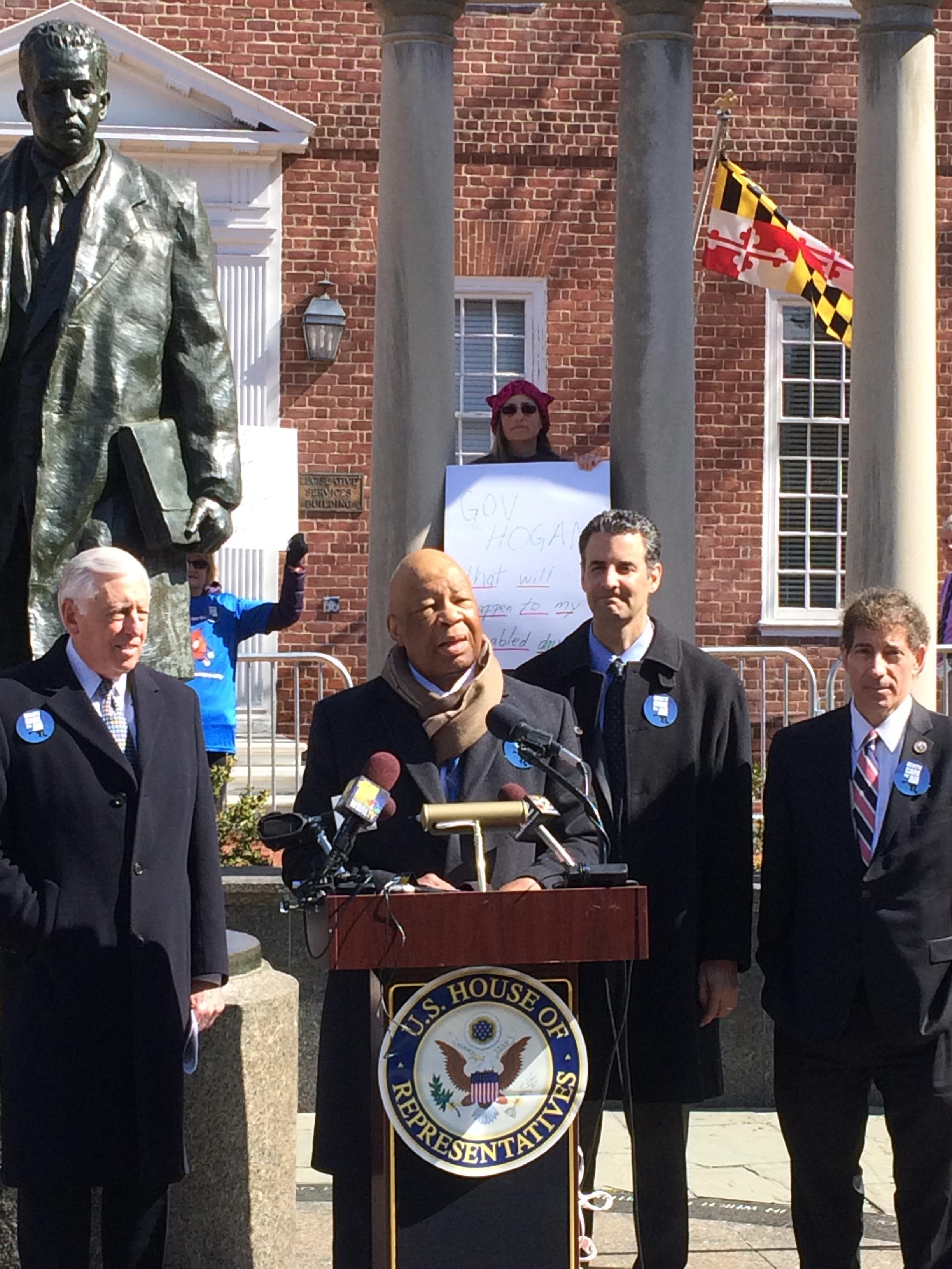L-R: Rep. Steny Hoyer, Rep. Elijah Cummings, Rep. John Sarbanes, and Rep. Jamie Raskin