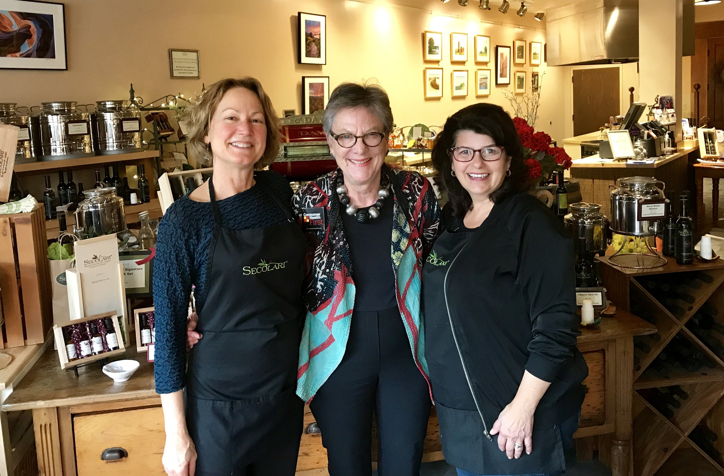 L-R: Secolari store manager, Stephanie; Consumer Health First President, Leni Preston; and Secolari owner, Mary de Rosa