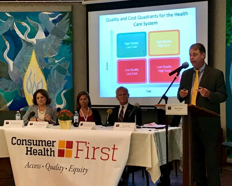 L-R: Michele Eberle, Exec. Director of Maryland Health Benefit Exchang; Katie Wunderlich - Exec. Director Health Services Cost Review Commission; Dr. Howard Haft - Maryland Primary Care Program MD Dept. of Healt; Ben Steffen - Exec. Director MD Health Care Commission; and Steve Ports - Consultant