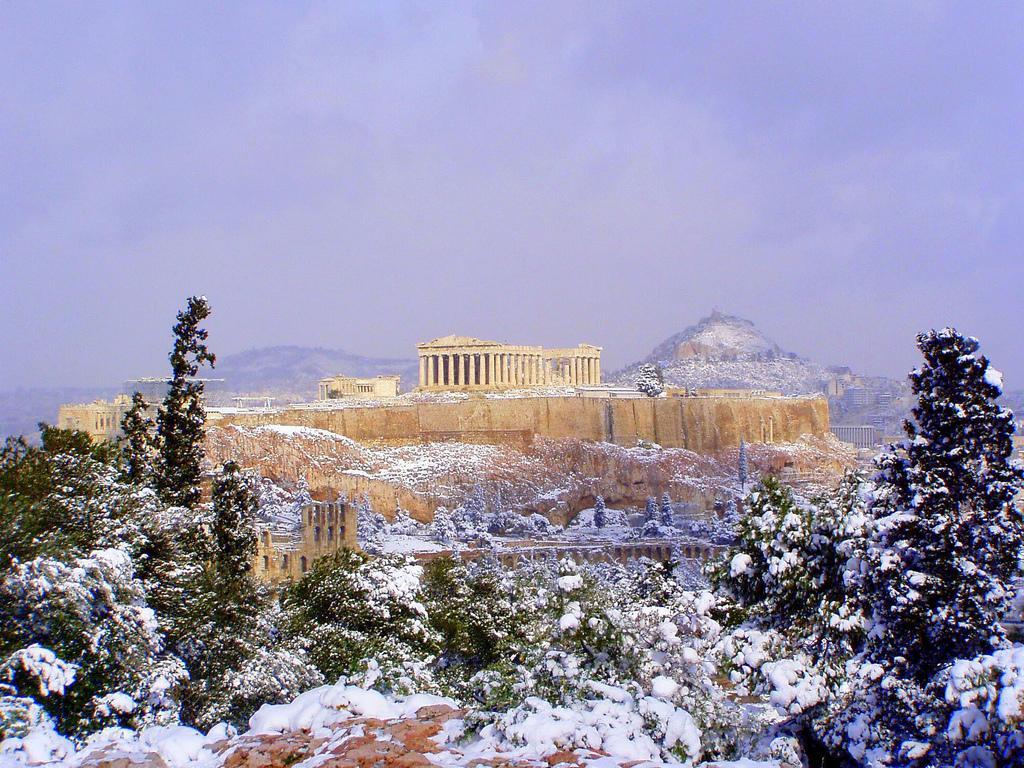 Snow on the Acropolis