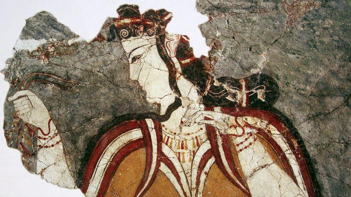 A Mycenaean woman depicted on a fresco at Mycenae on mainland Greece.