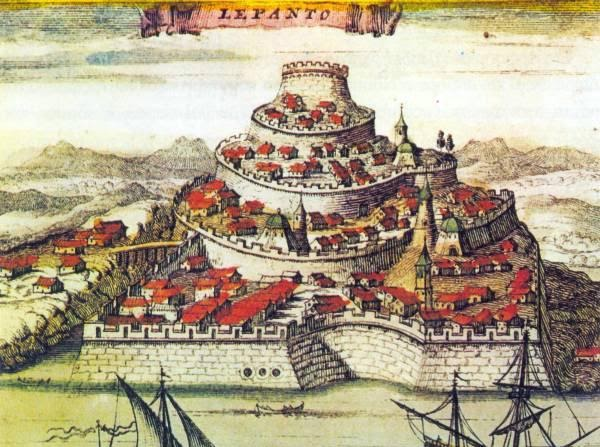 Copper engraving of the fortress of Lepanto (Naupaktos)