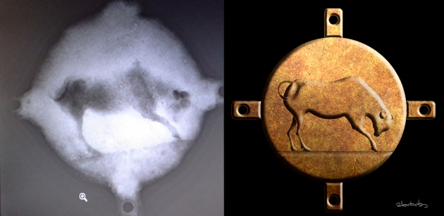 The X-rays of the bronze disc, and artist's reconstruction of the bull.