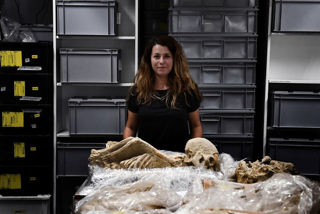 Bio-archaeologist Eleanna Prevedorou poses in a lab at the American School    of Archaeology in Athens on July 7, 2017 [Credit: Aris Messinis/AFP]
