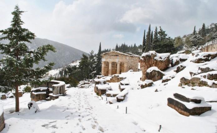 The ruin of the temple of Apollo at Delphi in winter