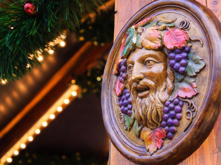 Dionysus plaque at a Christmas market