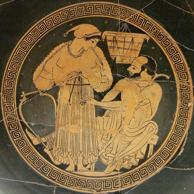 A banquet musician reties her himation (long garment) as her client watches. Tondo from an Attic red-figured cup, c. 490 BC, British Museum.