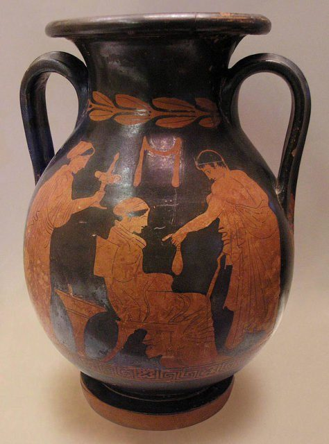 Courtesan and her client, Attican Pelike with red figures by Polygnotus, c. 430 BCE, National Archaeological Museum of Athens.Author Marsyas – CC BY-SA 2.5,