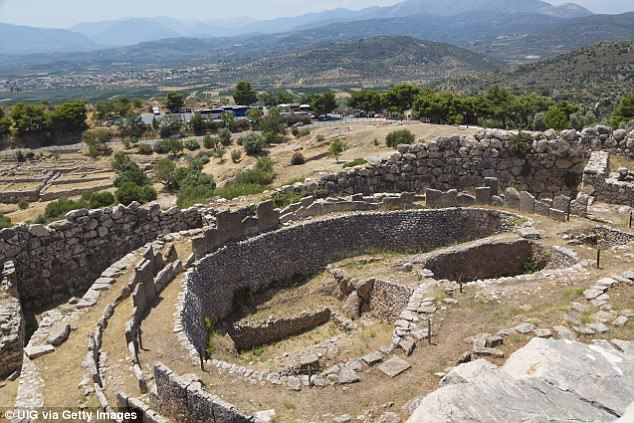 Cities were formed from the uneven ground created by the earthquakes, including Mycenae (pictured)