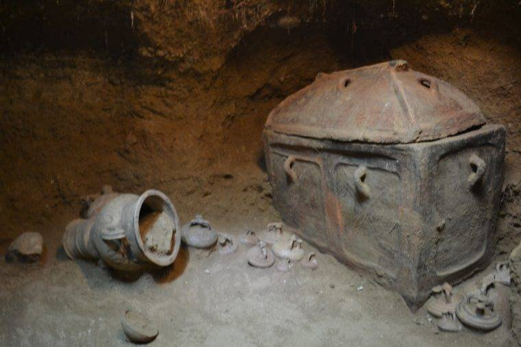 A covered coffin from the Minoan times found in Ierapetra, Crete, Greece.