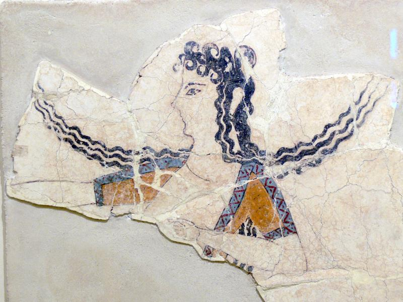 The Minoans were a literate Bronze Age civilization that flourished thousands of years ago (one woman shown dancing, in a fresco fragment that dates from 1600-1450 BCE). Photo: Wolfgang Sauber