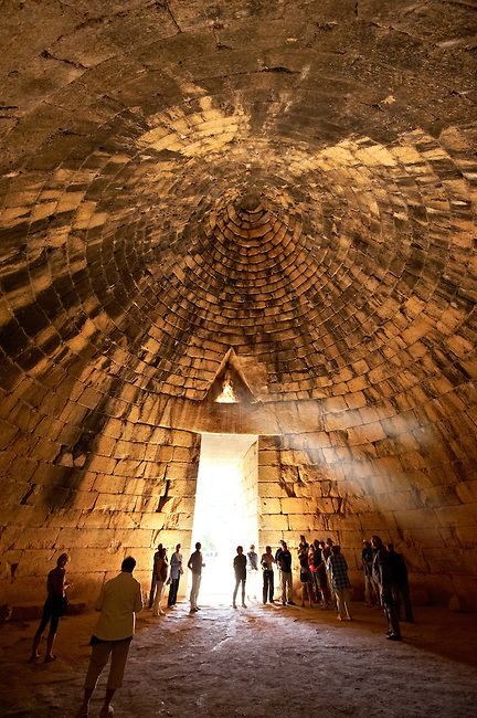 The Treasury of Atreus or Tomb of Agamemnon is a large tholos or beehive tomb on Panagitsa Hill at Mycenae, Greece, constructed during the Bronze Age around 1250 BC.