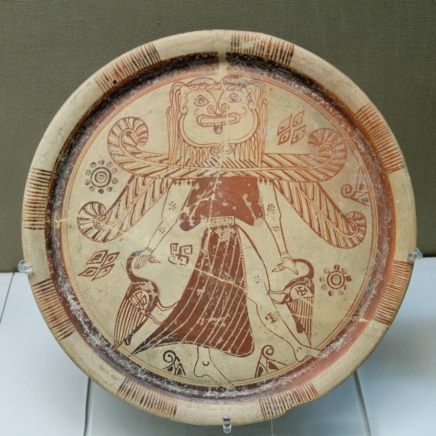 Fig.9: Gorgon/Gorgon-Headed Goddess plate from Rhodes. British Museum. Author: Marie- Lan Nguyen 2007.