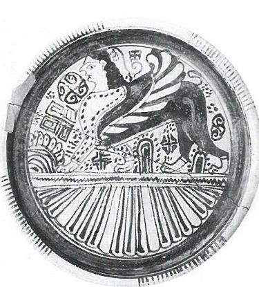Fig.10: Late Wild Goat Style, possibly Rhodian, plate from Tocra featuring a Sphinx design. Source: John Boardman 1998.