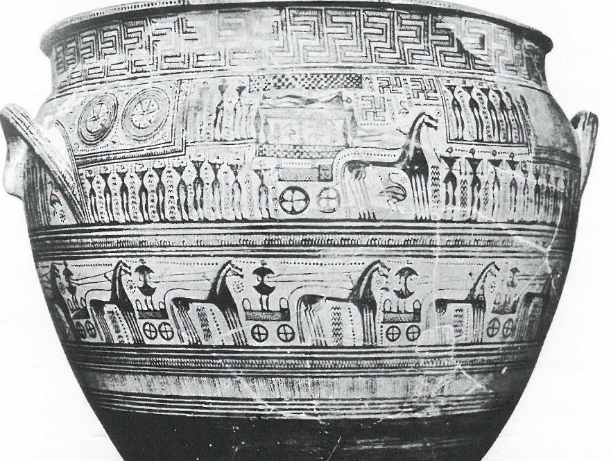 Fig.11: Hirschfeld Krater. Scene depicting ekphora and a chariot race. Funeral of Patroclus? Source: John Boardman 1998.
