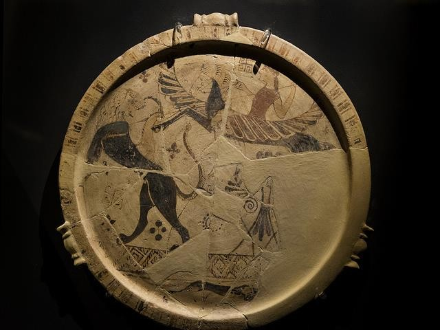 Fig.15: Cycladic plate depicting Bellerophon and Pegasus fighting the Chimaera. Found in the Archaeological Museum of Thasos. Author: Egisto Sani 2014.