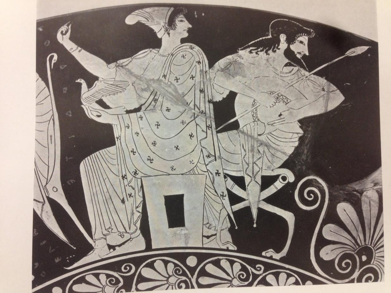 Fig.21: Classical cup from Tarquinia featuring Athena and other members of the Olympian Pantheon. Author: Donald Mackenzie 2014.