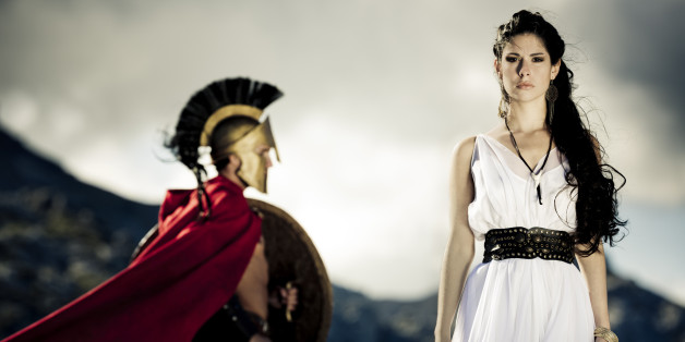 Portrait of spartan queen and spartan warrior with selfmade theater clothings,selective focus on her