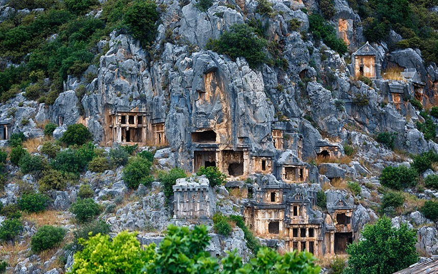 Myra is an ancient town in Lycia.  The city has two necropoli of Lycian rock-cut tombs in the form of temple fronts carved into the vertical faces of cliffs at Myra: the river necropolis and the ocean necropolis. The ocean necropolis is just northwest of the theater.