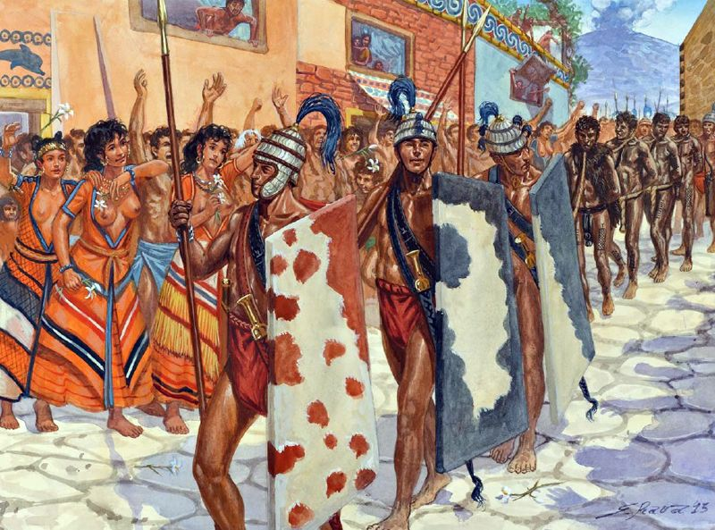 Minoan warriors with libyan prisoners in the city of Akrotiri on the island of Santorini, before a volcano blew half the island into the air. 1600 BC Bronze Age - art by Giuseppe Rava